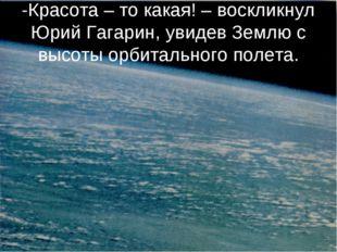 -Красота – то какая! – воскликнул Юрий Гагарин, увидев Землю с высоты орбитал