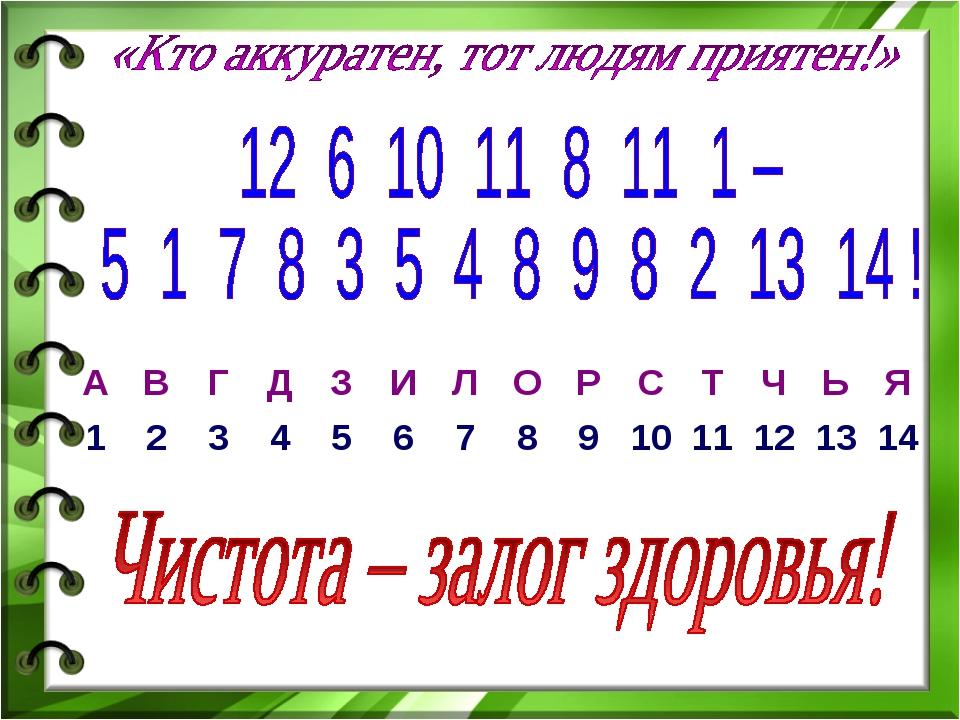 АВГДЗИЛОРСТЧЬЯ 1234567891011121314