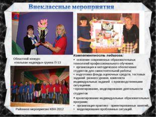 Областной конкурс «тюльпан надежды» группа П-13 Районное мероприятие КВН-2012