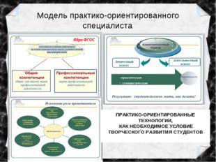 Модель практико-ориентированного специалиста ПРАКТИКО-ОРИЕНТИРОВАННЫЕ ТЕХНОЛО