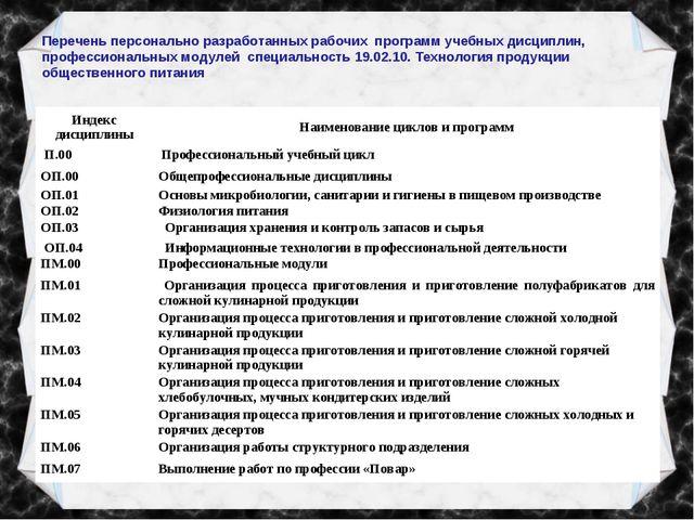 Перечень персонально разработанных рабочих программ учебных дисциплин, профес...