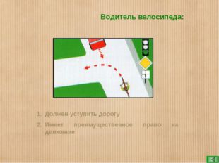Водитель велосипеда: Должен уступить дорогу Имеет преимущественное право на д