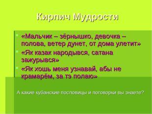 Кирпич Мудрости «Мальчик – зёрнышко, девочка – полова, ветер дунет, от дома у