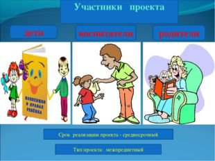 Участники проекта дети воспитатели родители Срок реализации проекта - средне