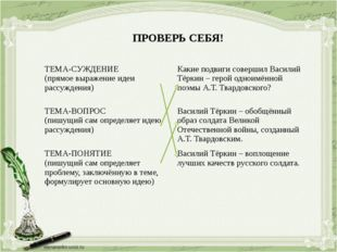 ПРОВЕРЬ СЕБЯ! ТЕМА-СУЖДЕНИЕ (прямоевыражение идеи рассуждения) Какие подвиги
