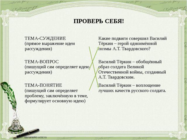 ПРОВЕРЬ СЕБЯ! ТЕМА-СУЖДЕНИЕ (прямоевыражение идеи рассуждения) Какие подвиги...