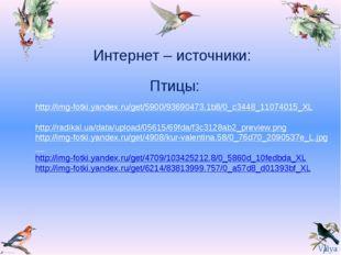 Интернет – источники: Птицы: http://img-fotki.yandex.ru/get/5900/93690473.1b8
