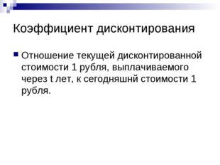 Коэффициент дисконтирования Отношение текущей дисконтированной стоимости 1 ру