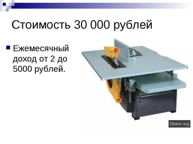 Стоимость 30 000 рублей Ежемесячный доход от 2 до 5000 рублей.