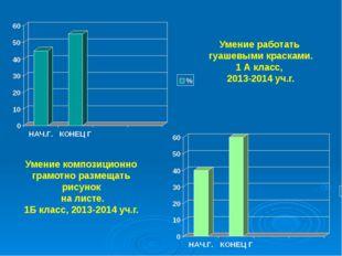 Умение работать гуашевыми красками. 1 А класс, 2013-2014 уч.г. Умение компози