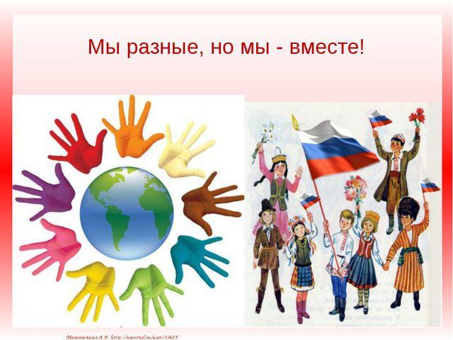 Мы разные, но мы - вместе! Матюшкина А.В. http://nsportal.ru/user/33485