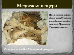 Медвежья пещера На территории района обнаружены 89стоянок первобытных людей,