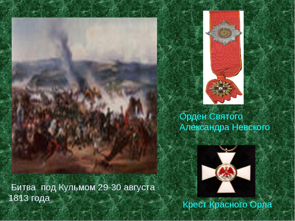 Битва под Кульмом 29-30 августа 1813 года Орден Святого Александра Невского...