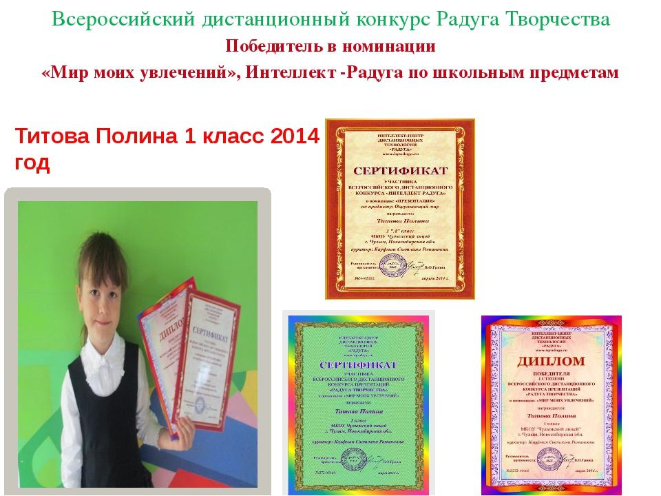 Всероссийский дистанционный конкурс Радуга Творчества Победитель в номинации...