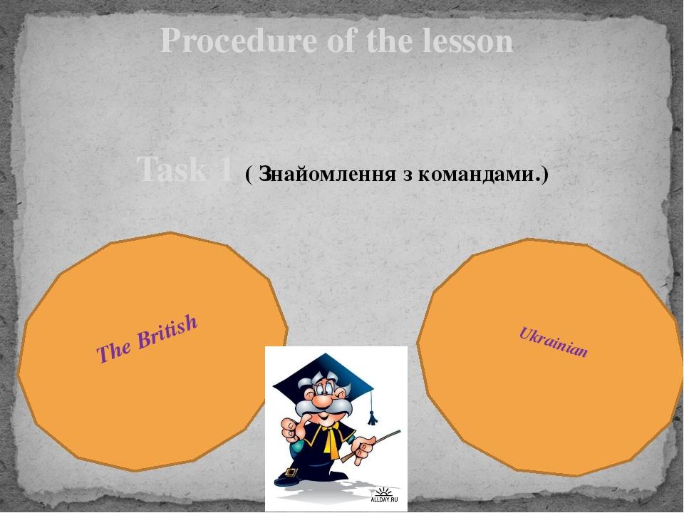 Procedure of the lesson Task 1 ( Знайомлення з командами.) The British Ukrain...