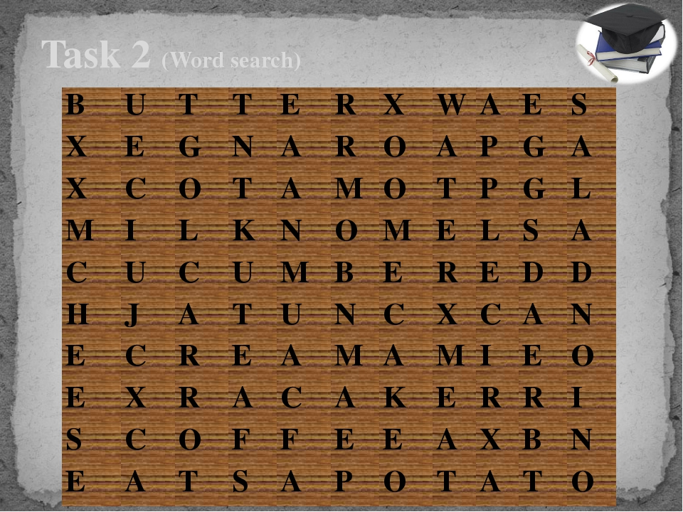 Task 2 (Word search)  B U T T E R X W A E S X E G N A R O A P G A X C O T A...