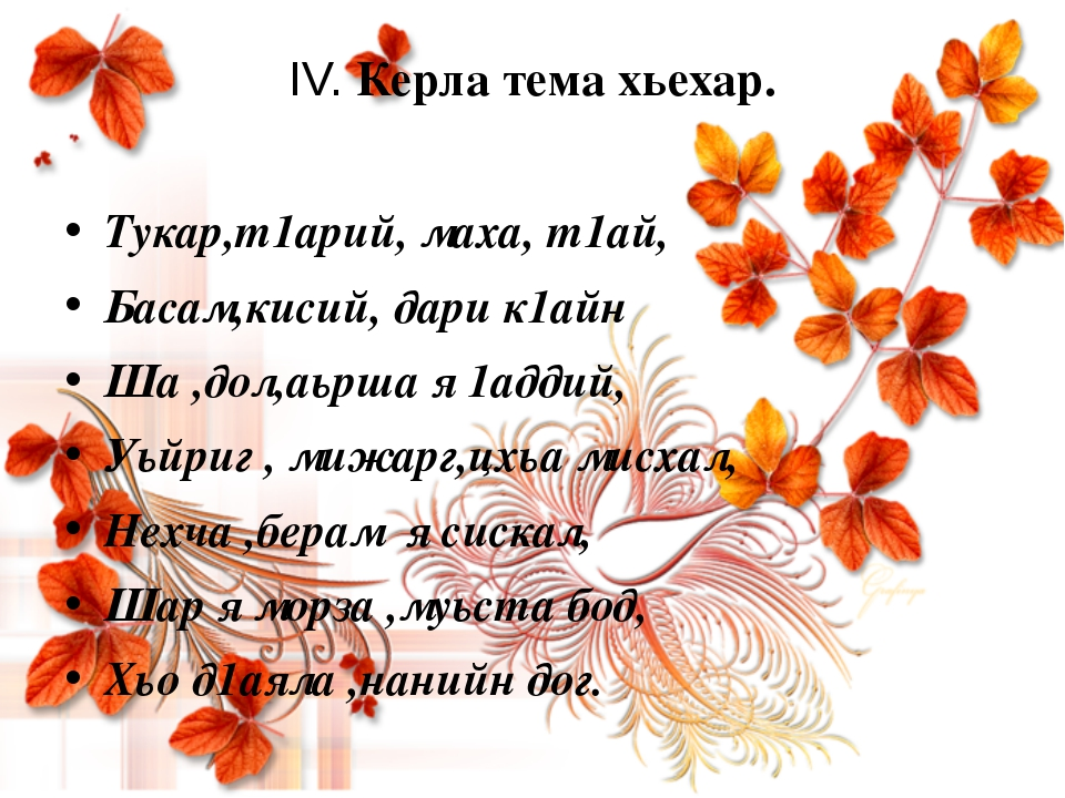 IV. Керла тема хьехар. Тукар,т1арий, маха, т1ай, Басам,кисий, дари к1айн Ша ,...