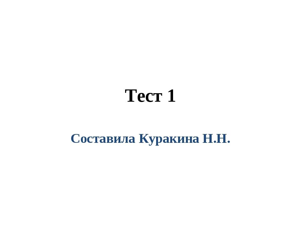 Тест 1 Составила Куракина Н.Н.
