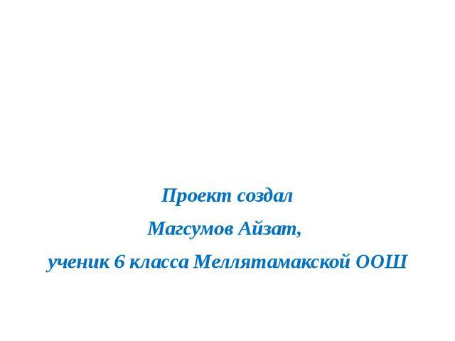 Проект создал Магсумов Айзат, ученик 6 класса Меллятамакской ООШ