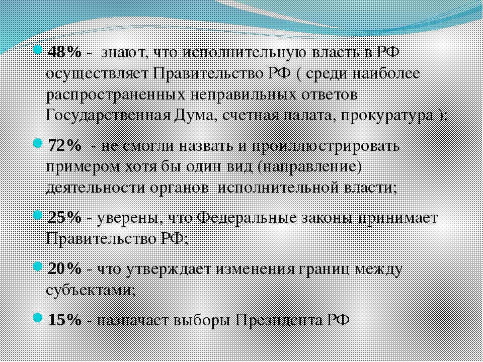 48% - знают, что исполнительную власть в РФ осуществляет Правительство РФ ( с...