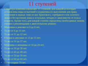 11 ступеней Структура комплекса включает 11 ступеней, для каждой из которых у