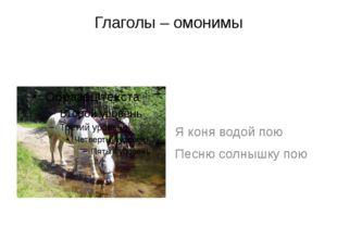 Глаголы – омонимы Я коня водой пою Песню солнышку пою
