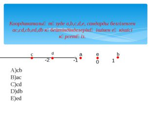 Координаталық түзуде a,b,c,d,e, сандарды белгіленген ac,cd,cb,ed,db көбейтінд