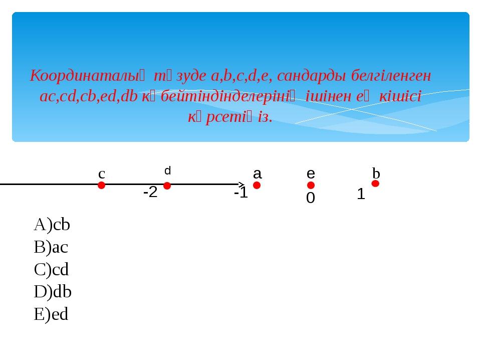 Координаталық түзуде a,b,c,d,e, сандарды белгіленген ac,cd,cb,ed,db көбейтінд...