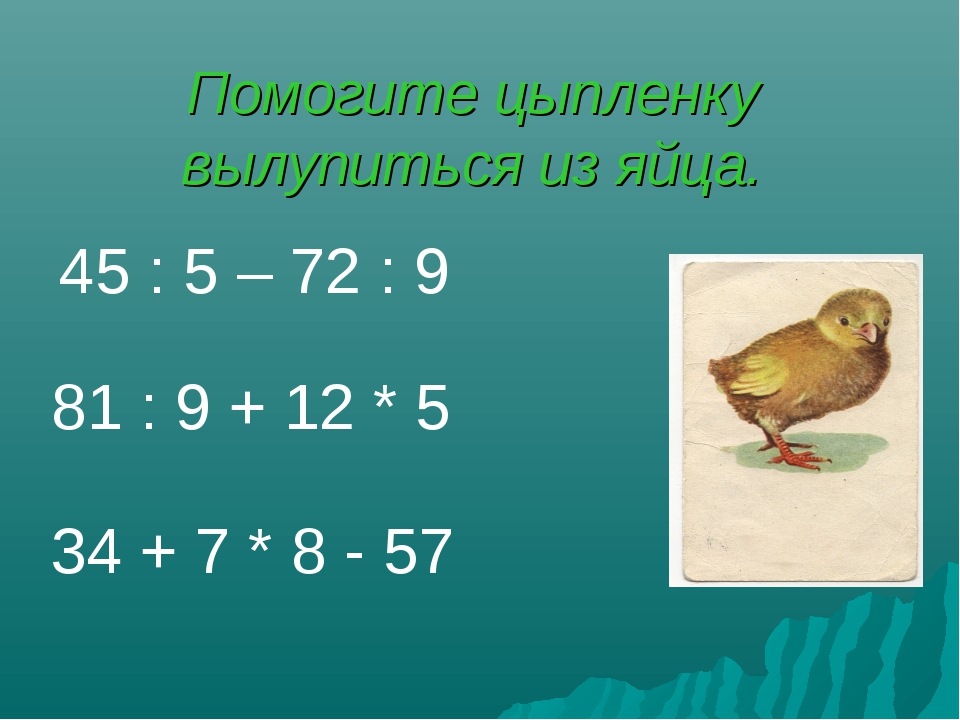 Помогите цыпленку вылупиться из яйца. 34 + 7 * 8 - 57 81 : 9 + 12 * 5 45 : 5...