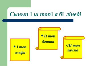 Сынып үш топқа бөлінеді I топ альфа ІІІ топ гамма II топ бетта