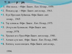 Төп әҫәрҙәре. 1. Ике пьеса. – Өфө: Башҡ. Кит. Нәшр., 1959. 2. Йондоҙҙар. –