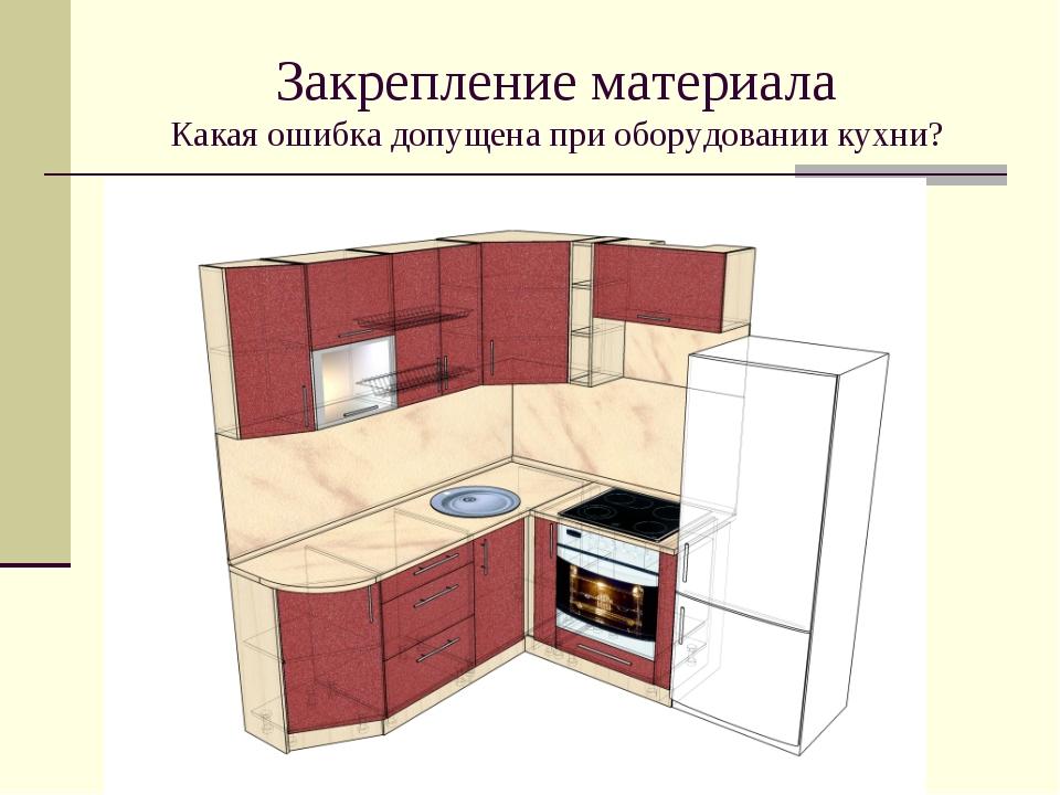 Закрепление материала Какая ошибка допущена при оборудовании кухни?