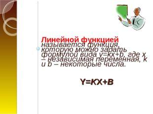 Y=KX+B Линейной функцией называется функция, которую можно задать формулой ви
