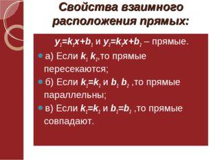 Свойства взаимного расположения прямых: у1=k1x+b1 и у2=k2x+b2 – прямые. а) Ес