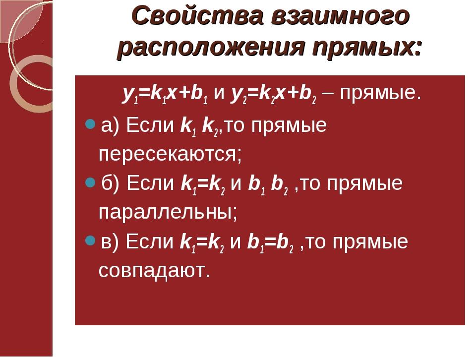 Свойства взаимного расположения прямых: у1=k1x+b1 и у2=k2x+b2 – прямые. а) Ес...