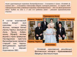 Ныне царствующая королева Великобритании - Елизавета II (англ. Elizabeth II),