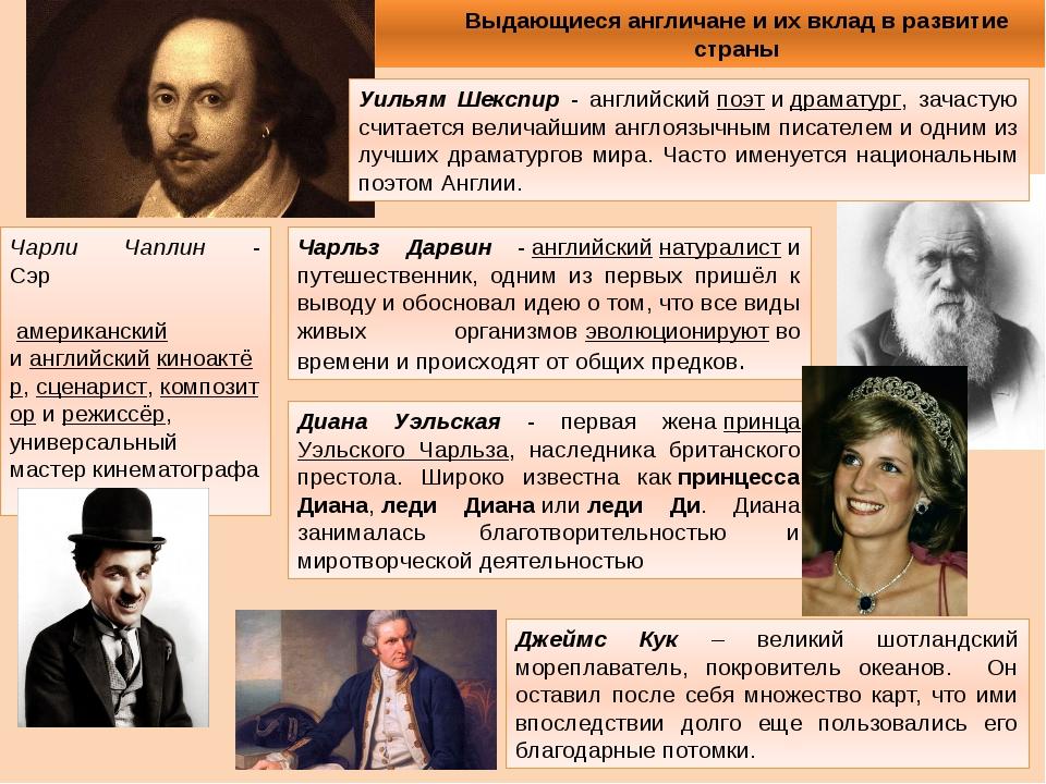 Выдающиеся англичане и их вклад в развитие страны Уильям Шекспир - английский...