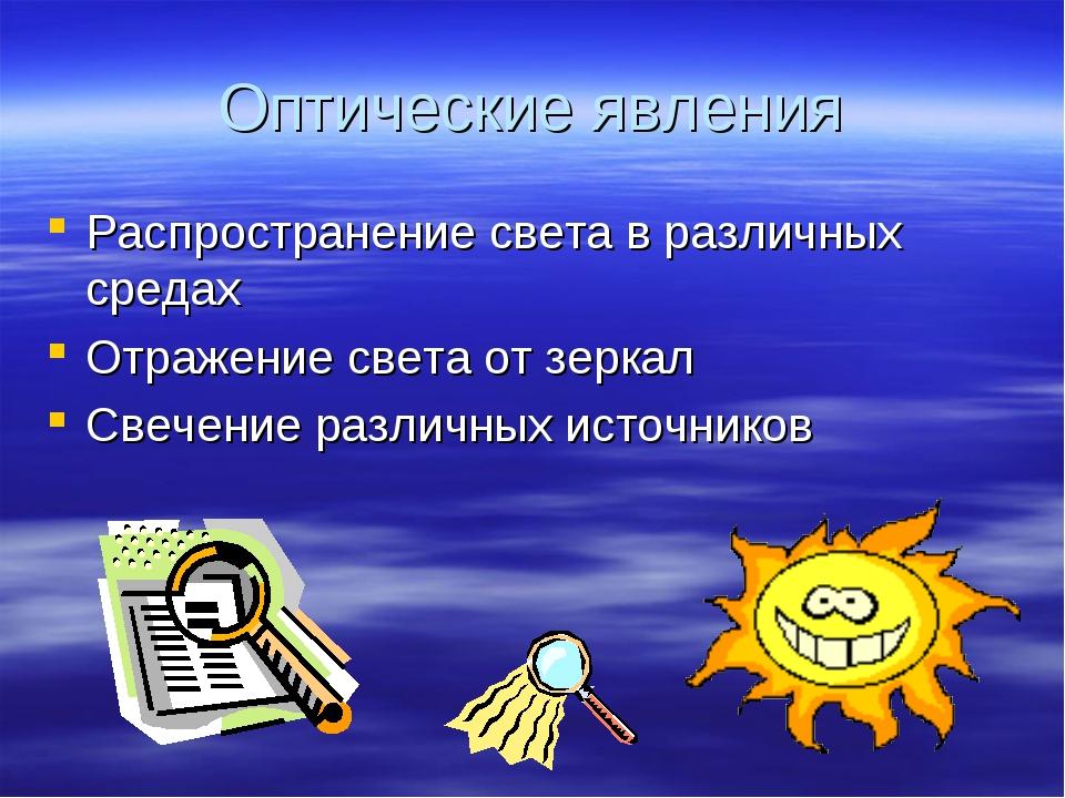 Оптические явления Распространение света в различных средах Отражение света о...