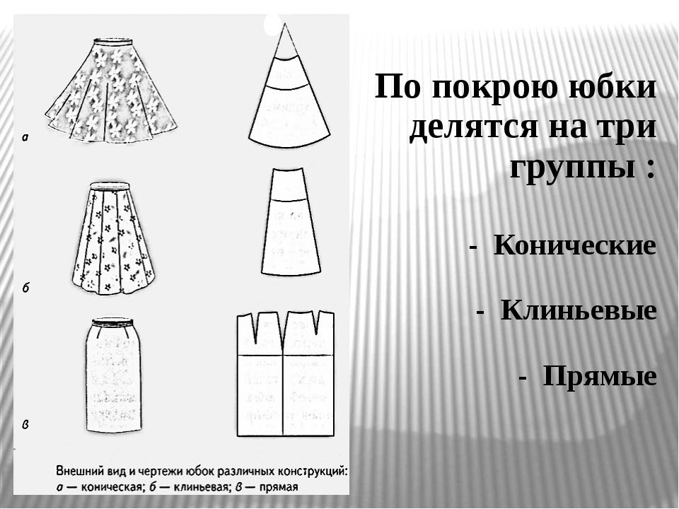 По покрою юбки делятся на три группы : - Конические - Клиньевые - Прямые