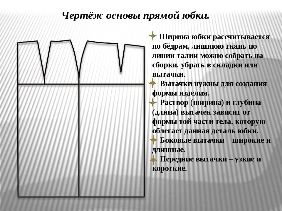 Чертёж основы прямой юбки. Ширина юбки рассчитывается по бёдрам, лишнюю ткан...