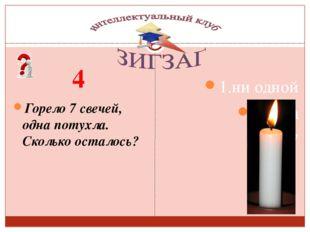 4 Горело 7 свечей, одна потухла. Сколько осталось? Сизых Лариса Сергеевна 1.