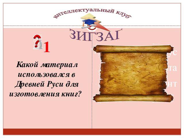 1 Какой материал использовался в Древней Руси для изготовления книг? Сизых Л...