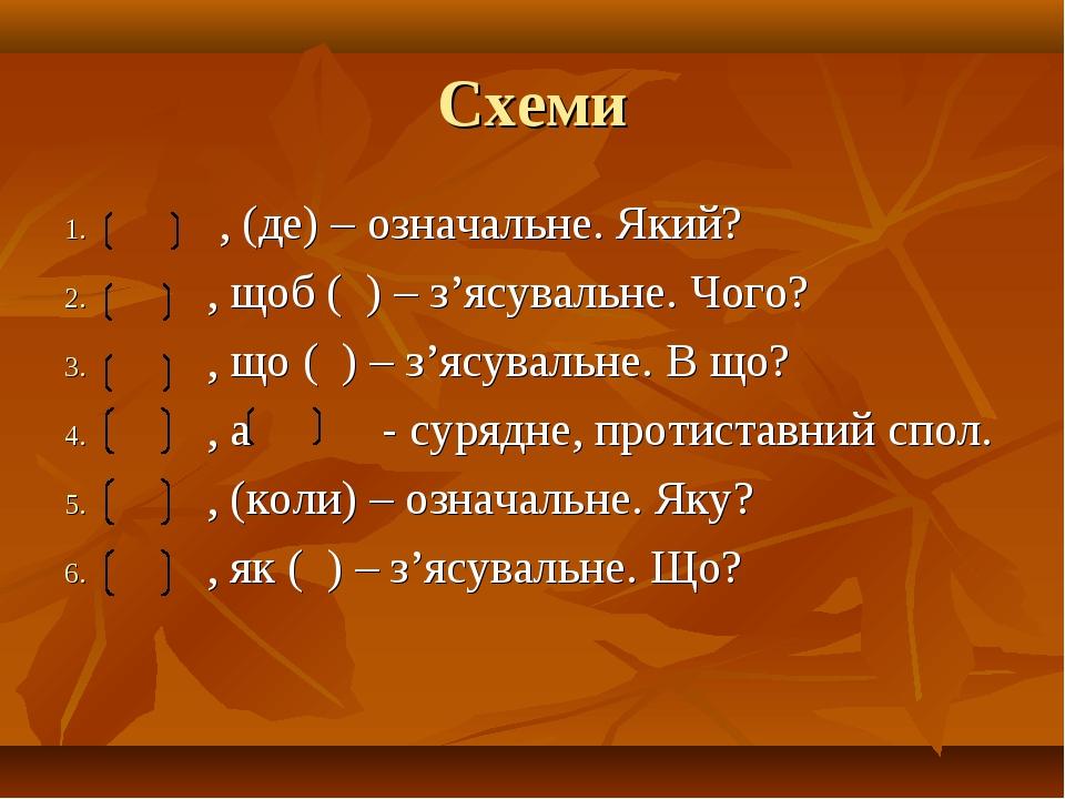 Схеми , (де) – означальне. Який? , щоб ( ) – з'ясувальне. Чого? , що ( ) – з'...