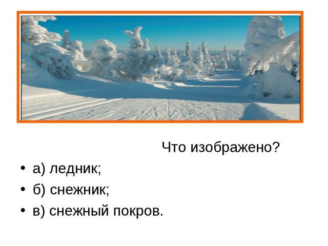 Что изображено? а) ледник; б) снежник; в) снежный покров.