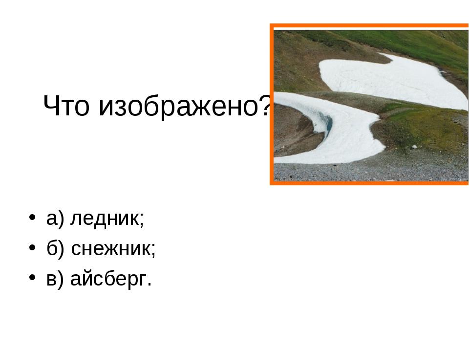 Что изображено? на рисунке а) ледник; б) снежник; в) айсберг.
