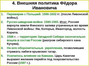 4. Внешняя политика Фёдора Ивановича Перемирие с Польшей: 1586-1602 гг. (посл