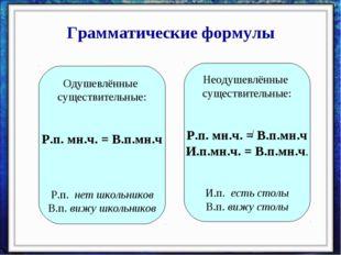 Грамматические формулы Одушевлённые существительные: Р.п. мн.ч. = В.п.мн.ч Р.