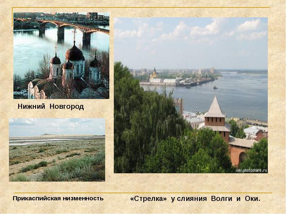 «Стрелка» у слияния Волги и Оки. Нижний Новгород Прикаспийская низменность