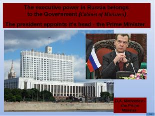 The executive power in Russia belongs to the Government (Cabinet of Minister