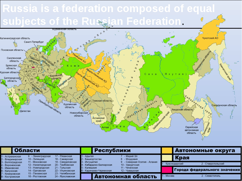 Russia is a federation composed of equal subjects of the Russian Federation.